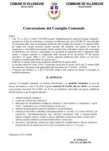 Consiglio comunale 29-12-2020